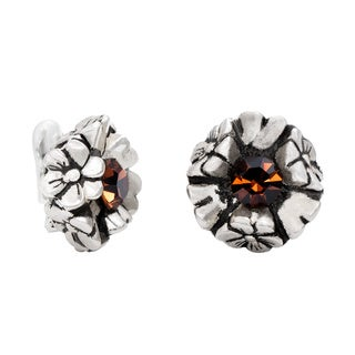 Dabby Reid Florette Amber Crystal Antiqued-finish Handmade in New York Circa 1988 Limited Edition Clip Earring
