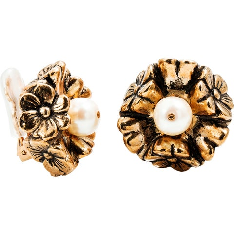 Dabby Reid Limited Edition Antique Pearl Crystal Florette Clip Earrings Handmade in New York Circa 1988 - White