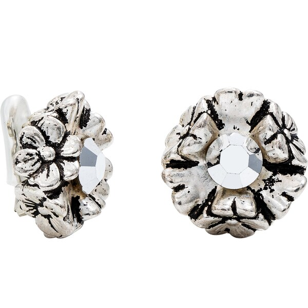 Dabby Reid Silver Crystal Florette Limited Edition Handmade New York Circa 1988 Antique Clip Earring