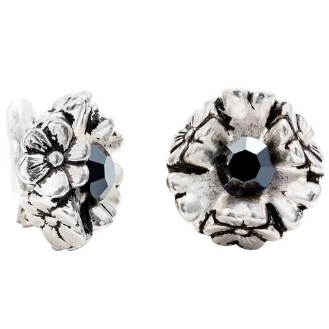 Dabby Reid 14K Gold Silver-colored Hematite Crystal Florette Antique Clip Earrings