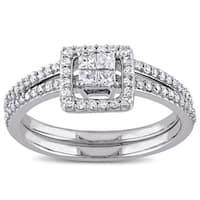 Miadora 10k White Gold 2/5ct TDW Princess-cut Diamond Halo Bridal Ring Set