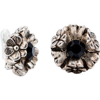 Dabby Reid 14K Gold and Black Crystal Florette Antique Clip Earrings
