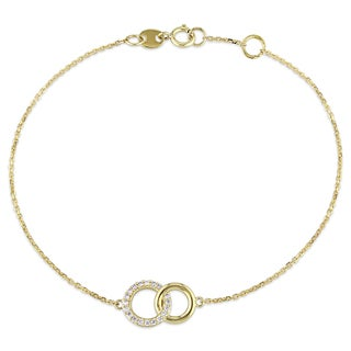 Miadora 14k Yellow Gold 1/10ct TDW Diamond Interlocking Circles Charm Bracelet (G-H, SI1-SI2)