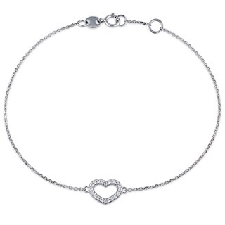 Miadora 14k White Gold 1/10ct TDW Diamond Heart Charm Bracelet