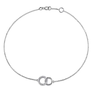 Miadora 14k White Gold 1/10ct TDW Diamond Interlocking Circles Charm Bracelet (G-H, SI1-SI2)