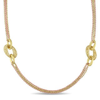 Miadora Signature Collection 18k 2-tone Pink and Yellow Gold Italian Multi Chain Filigree Link Necklace