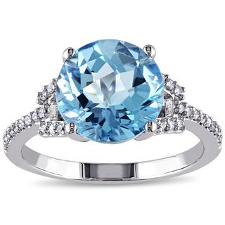 Miadora Signature Collection 14k White Gold Blue Topaz and 1/6ct TDW Diamond Cocktail Ring (G-H, SI1-SI2)