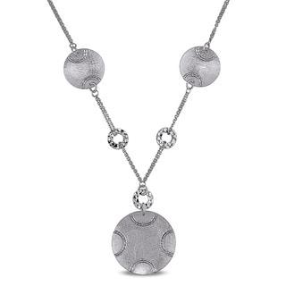 Miadora Signature Collection 14k White Gold Italian Round Disc Double Chain Necklace