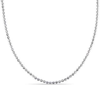 Miadora Signature Collection 18k White Gold Italian Diamond-cut Ball Necklace