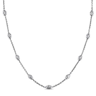 Miadora 18k White Gold Italian Diamond-cut Ball Station Necklace