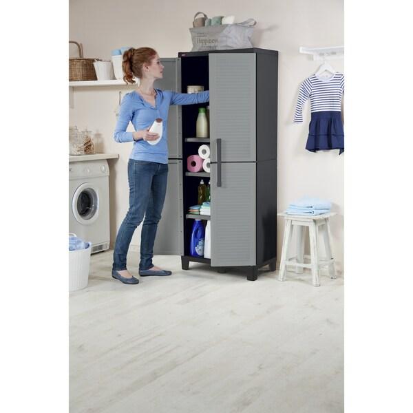 Keter Plastic Utility Storage Cabinet with Adjustable Shelves ...