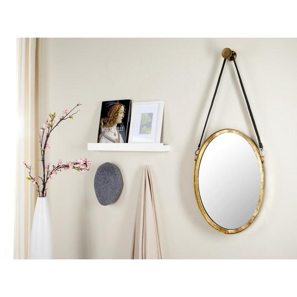 """Safavieh Pembroke Strap Antique Gold 40-inch Oval Decorative Mirror - 16"""" x 40"""" x 1.5"""""""