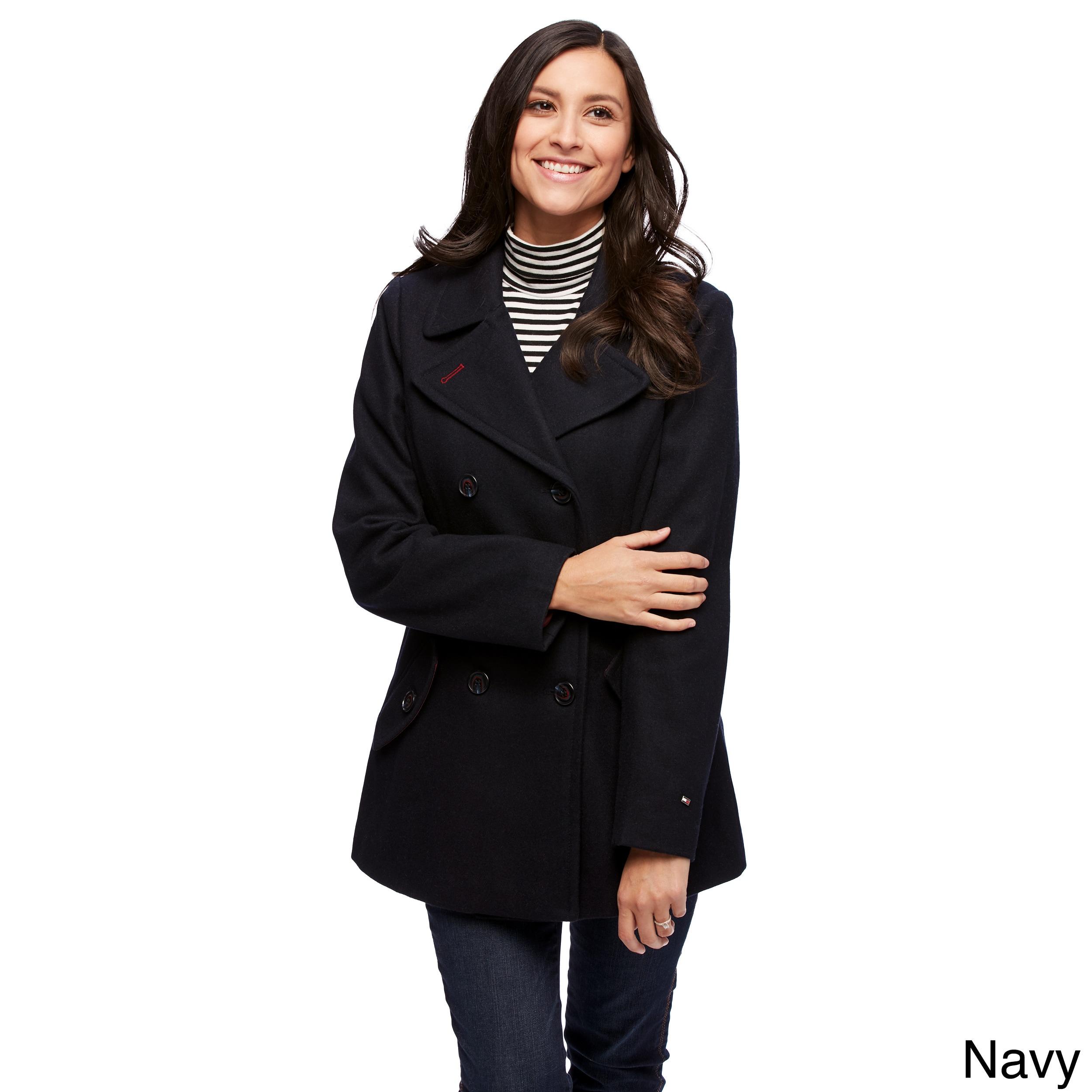 Tommy Hilfiger Womens Wool-Blend Neoprene Fashion Coat