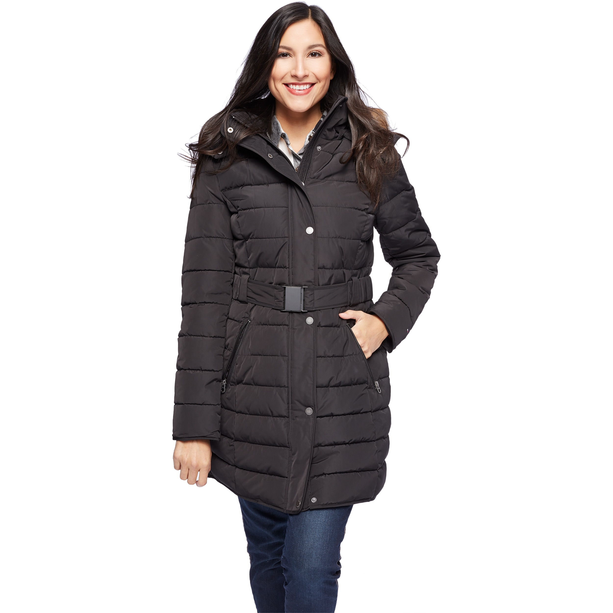 Tommy Hilfiger Women's Faux Fur Trim Hood Puffer Jacket