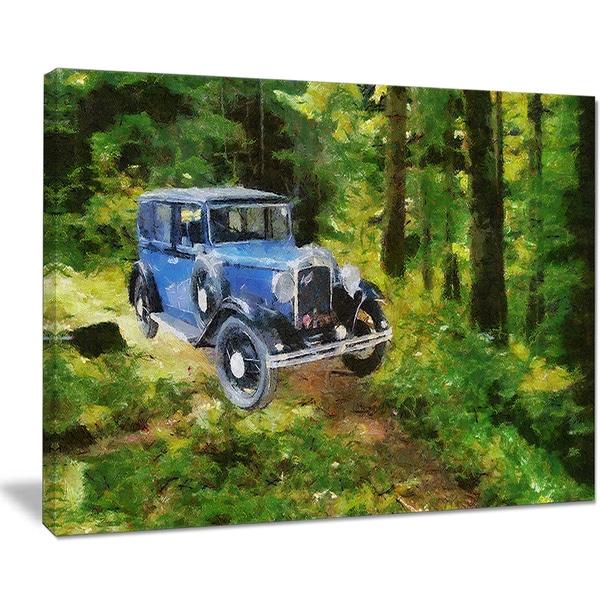 Designart 'Blue Vintage Car Oil Painting' Canvas Print