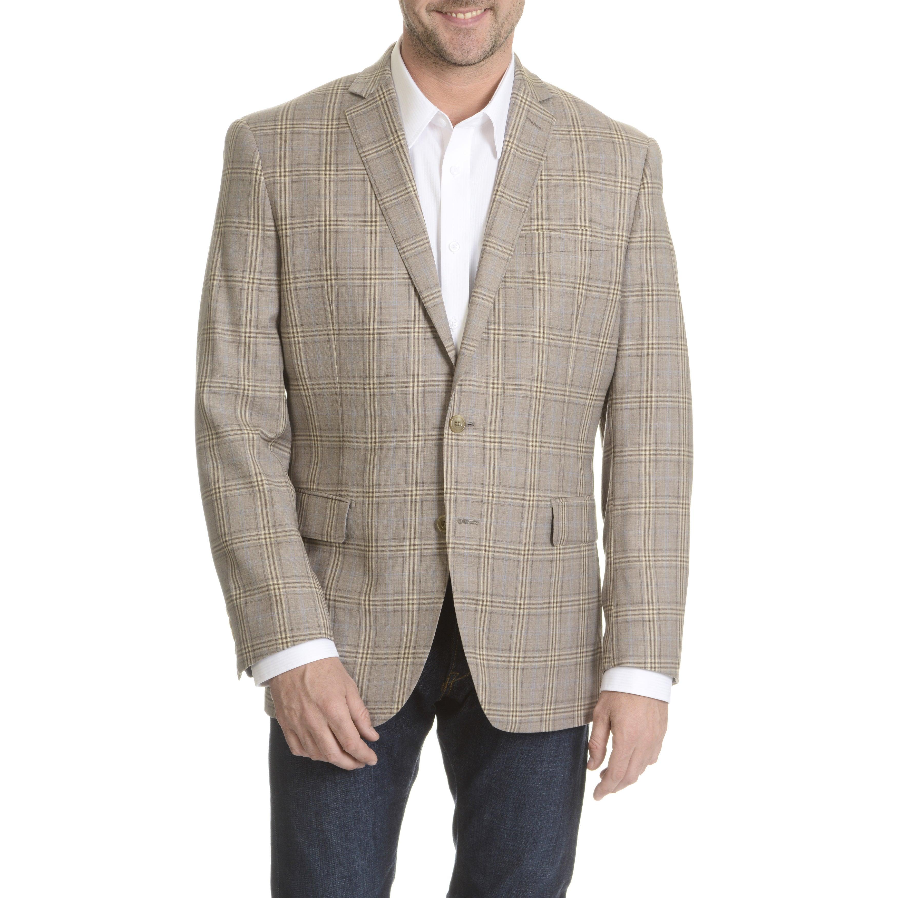 Daniel Hechter Men's Fine Wool Windowpain Plaid Sport Coa...