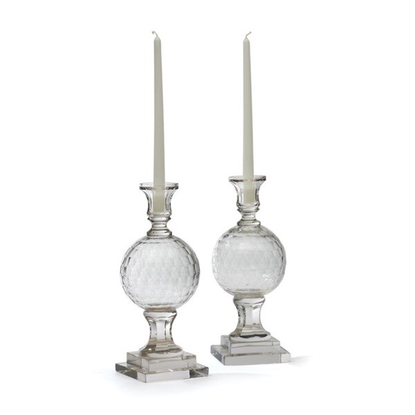 Etched Glass Golfball Candlesticks (Set of 2)