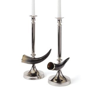 Horn and Nickel Candlesticks