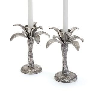 Hip Vintage Silver Nickel Paradise Candlesticks (Set of 2)