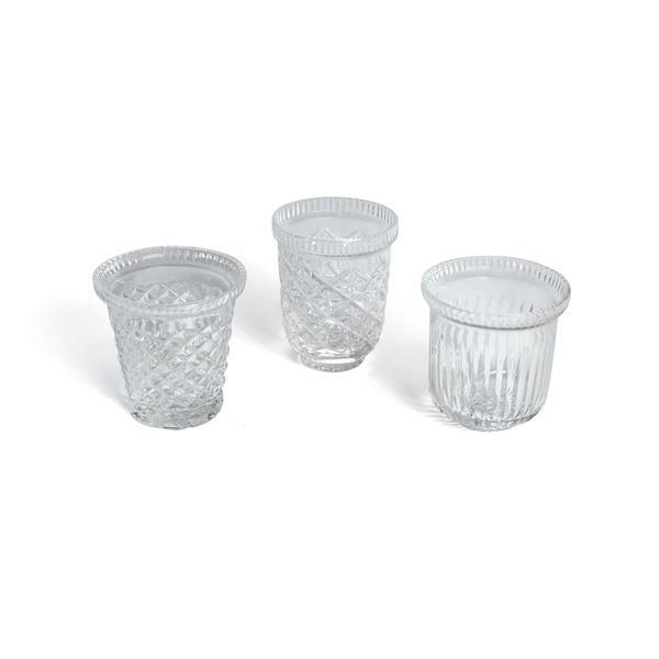Set of 3 Etched Glass Votives