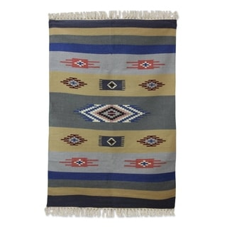 Handcrafted Wool 'Symphony of Dawn' Dhurrie Rug 4x6 (India)