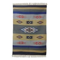 Handmade Wool 'Symphony of Dawn' Dhurrie Rug (India) - 4 x 6