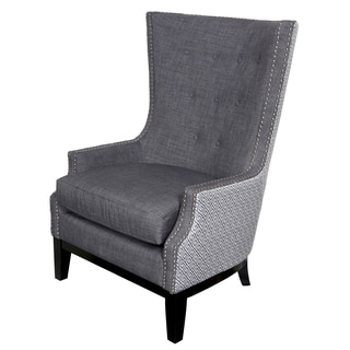 Porter Draper Lilian Tufted Nailhead Trim High Wing Back Accent Chair