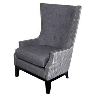 Porter Draper Lilian Tufted Nailhead Trim High Wing Back Accent Chair