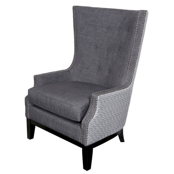 Shop porter draper lilian tufted nailhead trim high wing - High back wing chairs for living room ...