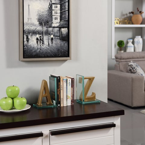 Danya B. Gold A to Z Glass Bookends