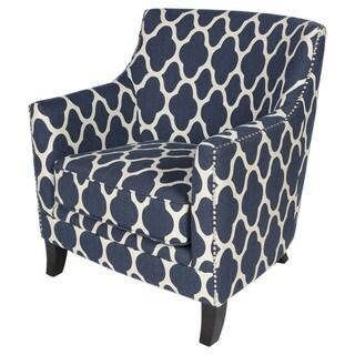 Porter Cassie Navy Blue and White Nailhead Trim Arabesque Accent Chair