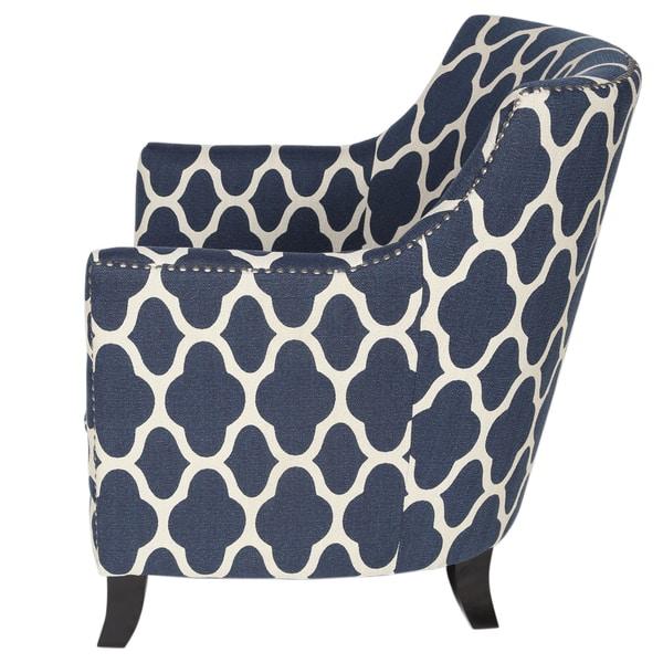 Marvelous Shop Handmade Cassie Navy Blue And White Arabesque Accent Creativecarmelina Interior Chair Design Creativecarmelinacom