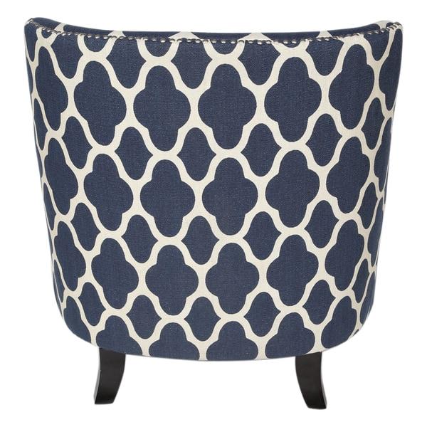 Fabulous Shop Handmade Cassie Navy Blue And White Arabesque Accent Creativecarmelina Interior Chair Design Creativecarmelinacom