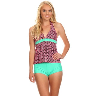 Dippin Daisy's Women's Mint Digital Halter Tankini with Boyshorts