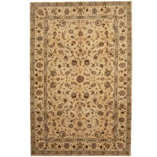 Herat Oriental Indo Hand-tufted Tabriz Gold/ Burgundy Wool & Silk Rug (5'9 x 8'9)