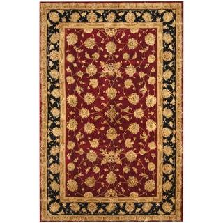 Herat Oriental Indo Hand-tufted Tabriz Burgundy/ Navy Wool & Silk Rug (5'9 x 8'9)