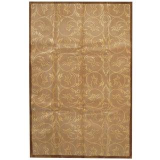 Herat Oriental Indo Hand-tufted Tibetan Beige/ Brown Wool & Silk Rug (5'5 x 8'5)