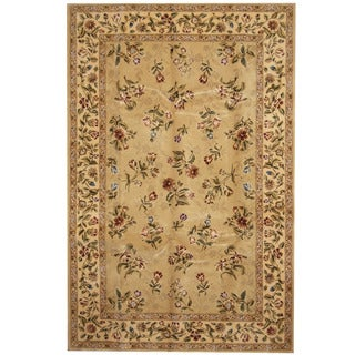 Herat Oriental Indo Hand-tufted Tabriz Gold/ Ivory Wool & Silk Rug (5'9 x 8'9)