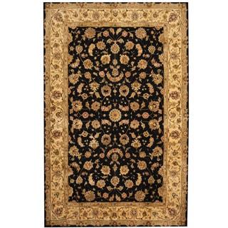 Herat Oriental Indo Hand-tufted Tabriz Black/ Gold Wool & Silk Rug (5'6 x 8'6)