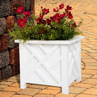 Pure Garden Box Planter - White - 14.75 x 14.75 x 13.75