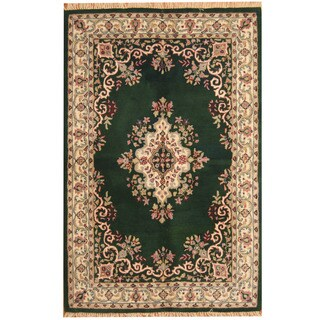 Herat Oriental Indo Hand-tufted Aubusson Green/ Ivory Wool Rug (5' x 8')