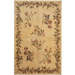 Herat Oriental Indo Hand-tufted Aubusson Beige/ Burgundy Wool & Silk Rug (5' x 8')