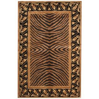 Herat Oriental Indo Hand-tufted Tibetan Black/ Gold Wool Rug (5'3 x 8')