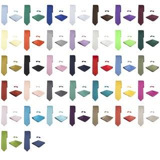 Jacob Alexander Men's Solid Color Tie, Hanky and Cufflink Set