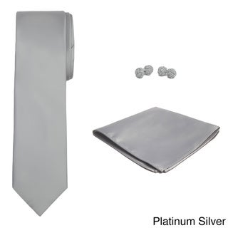 Jacob Alexander Men's Solid Color Tie, Hanky and Cufflink Set