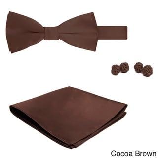 Jacob Alexander Men's Solid Color Bowtie, Hanky and Cufflink Set