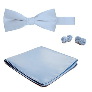 Jacob Alexander Men's Solid Color Bowtie, Hanky and Cufflink Set