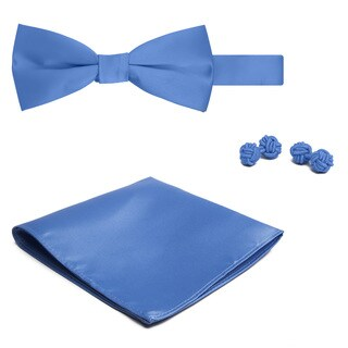 Jacob Alexander Men's Solid Color Bowtie Hanky and Cufflink Set