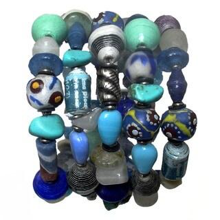 Trade Glass and Paper Bead Blue Wrap Bracelet