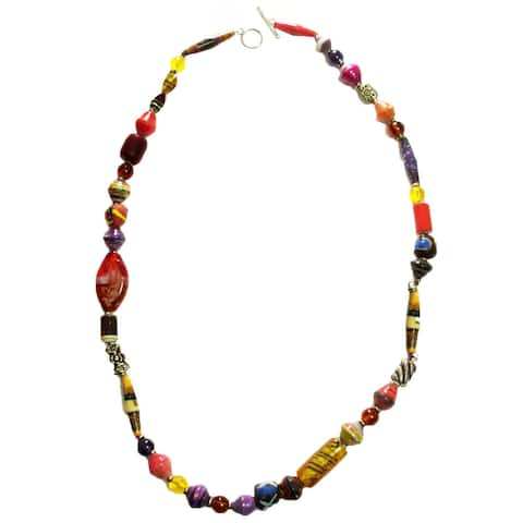 Trade Glass and Paper Bead Necklace